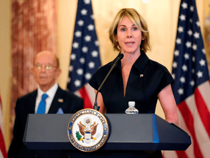 US Ambassador to the United Nations Kelly Craft speaks during a news conference to announce the Trump administration's restoration of sanctions on Iran,on September 21, 2020, at the US State Department in Washington, DC as Commerce Secretary Wilbur Ross(L) listens. - The United States said Monday it was imposing sanctions …