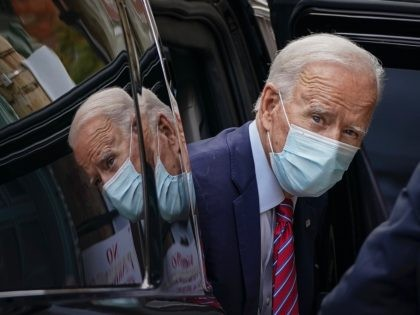 WILMINGTON, DE - OCTOBER 19: Democratic presidential nominee Joe Biden arrives at The Queen theater on October 19, 2020 in Wilmington, Delaware. According to the campaign, Biden is recording an interview with CBS 60 Minutes that will air Sunday evening. (Photo by Drew Angerer/Getty Images)