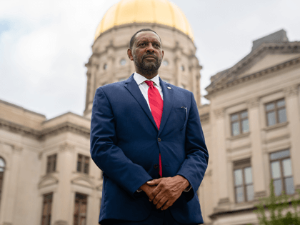 Georgia state Rep. Vernon Jones poses for a portrait at the Georgia State Capitol on October 25, 2020, in Atlanta, Georgia. - Neighbors and volunteers are handing out water and snacks to the masked voters waiting patiently in line to cast their ballots on a hot October day in the …