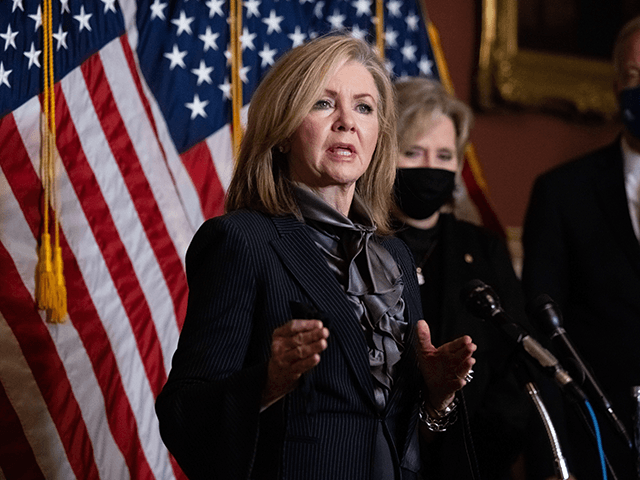 Senator Marsha Blackburn, R-TN speaks during a press conference after President Trumps Supreme Court nominee Judge Amy Coney Barrett was confirmed by the Senate as the 115th justice to the Supreme Court, on Capitol Hill, October 26, 2020. - The US Senate confirmed conservative jurist Amy Coney Barrett as the …