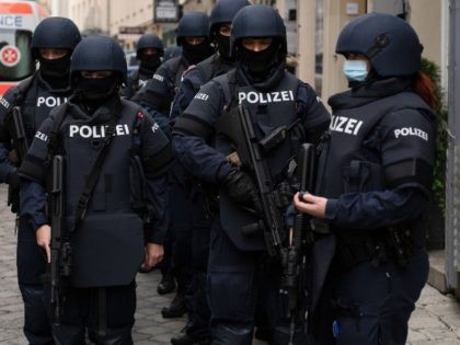Armed police officers stand guard before the arrival of Austrian Chancellor Kurz and President of the European Council to pay respects to the victims of the recent terrorist attack in Vienna, Austria on November 9,2020. (Photo by JOE KLAMAR / AFP) (Photo by JOE KLAMAR/AFP via Getty Images)