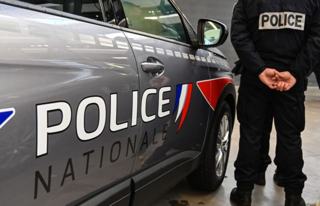 In this photo taken on December 14, 2020 the new logos of the National Police are displayed on their vehicles in Lille. (Photo by DENIS CHARLET / AFP) (Photo by DENIS CHARLET/AFP via Getty Images)