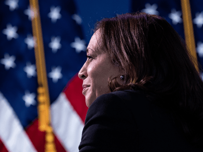 US Vice President-elect Kamala Harris listens during a foreign policy and national security virtual meeting at the Queen Theater December 28, 2020, in Wilmington, Delaware. (Photo by Brendan Smialowski / AFP) (Photo by BRENDAN SMIALOWSKI/AFP via Getty Images)