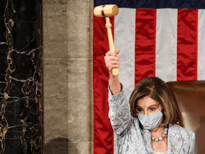 Speaker of the House Nancy Pelosi (D-CA) waves a gavel during the first session of the 117th Congress in the House Chamber at the US Capitol on January 3, 2021 in Washington, DC. (Photo by Tasos Katopodis / POOL / AFP) (Photo by TASOS KATOPODIS/POOL/AFP via Getty Images)