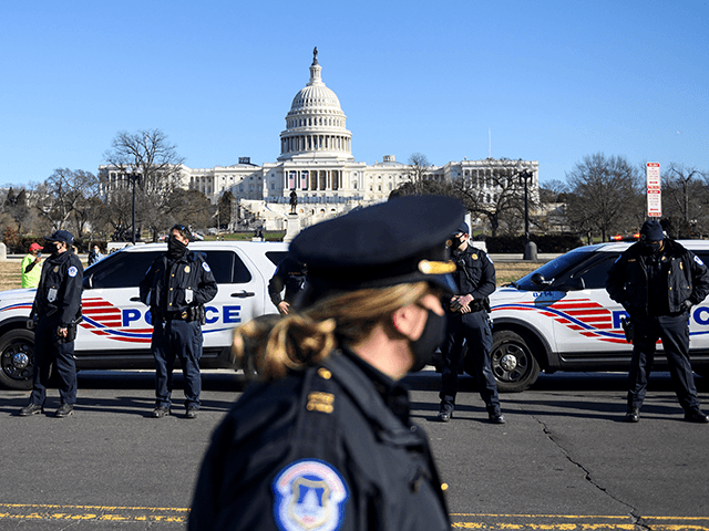 US Capital police stand at attention before the casket with fallen police officer, Brian Sicknick, passes during a funeral procession in Washington, DC on January 10, 2021. - US Capitol Police officer Sicknick was reportedly struck in the head with a fire extinguisher on Wednesday while struggling with the rioters …