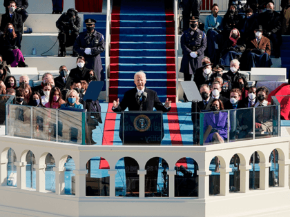 US President Joe Biden speaks after being sworn in as the 46th President of the US during the 59th Presidential Inauguration at the US Capitol in Washington, January 20, 2021. (Photo by Patrick Semansky / POOL / AFP) (Photo by PATRICK SEMANSKY/POOL/AFP via Getty Images)