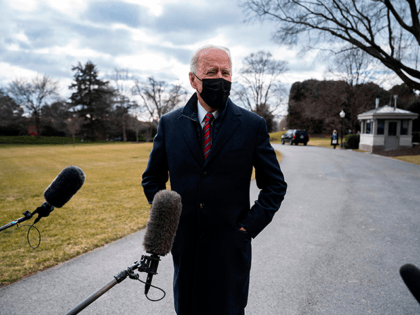 US President Joe Biden speaks to the press as he departs the White House in Washington, DC, on January 29, 2021. - Biden travels to Walter Reed National Military Medical Center in Bethesda, Maryland. (Photo by JIM WATSON / AFP) (Photo by JIM WATSON/AFP via Getty Images)