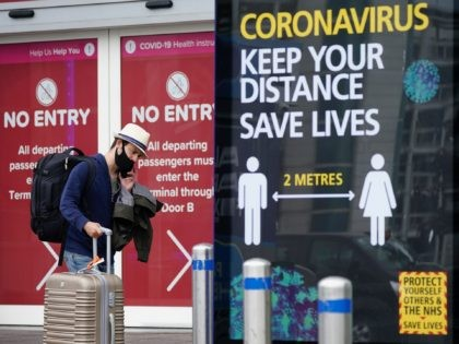 BIRMINGHAM, ENGLAND - JULY 27: Passengers wearing protective masks exit the arrivals terminal at Birmingham Airport on July 27, 2020 in Birmingham, England. On Sunday the British government, concerned by a spike in coronavirus cases in Spain, reimposed a requirement for travelers returning from that country to self-isolate for 14 …