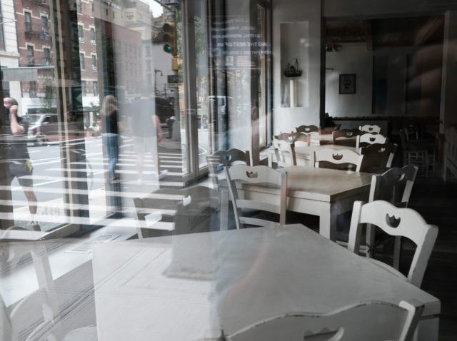 NEW YORK, NEW YORK - AUGUST 31: A restaurant sits closed in Manhattan on August 31, 2020 in New York City. While New York City restaurants are currently permitted to serve take-out and to offer sidewalk dining, they are not allowed to offer indoor dining due to Covid-19 and there …