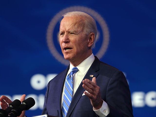 WILMINGTON, DELAWARE - JANUARY 14: U.S. President-elect Joe Biden speaks as he lays out his plan for combating the coronavirus and jump-starting the nation's economy at the Queen theater January 14, 2021 in Wilmington, Delaware. President-elect Biden is expected to unveil a stimulus package with a price tag of trillions …