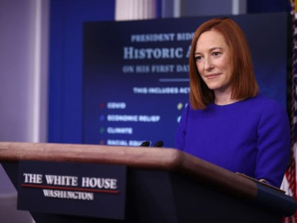 White House Press Secretary Jen Psaki conducts her first news conference of the Biden Administration in the Brady Press Briefing Room at the White House January 20, 2021 in Washington, DC. Psaki previously worked in the Obama Administration as White House Communications Director and spokesperson for the State Department. (Photo …