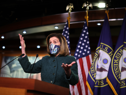 Wearing a face mask to reduce the risk posed by the novel coronavirus pandemic, Speaker of the House Nancy Pelosi (D-CA) holds her weekly news conference in the U.S. Capitol Visitors Center January 28, 2021 in Washington, DC. When asked about what she means when she said Congress has an …