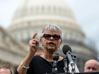WASHINGTON, DC - JULY 12: Congresswoman Bonnie Watson Coleman joins members of MoveOn.org and members of Congress at an event to demand congress renew an assault weapons ban, along with delivering more than one million signed petitions, at United States Capitol Building on July 12, 2016 in Washington, DC. (Photo …