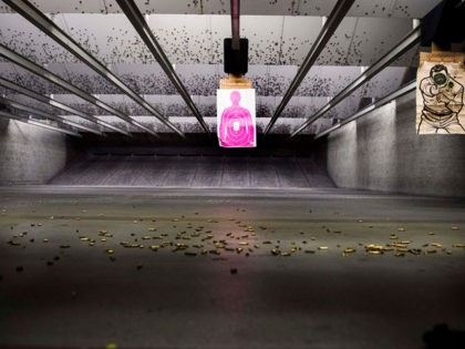 Shell casings litter the floor of the indoor gun range at Blue Ridge Arsenal in Chantilly, Virginia, on October 6, 2017. (Photo by JIM WATSON / AFP) (Photo credit should read JIM WATSON/AFP via Getty Images)
