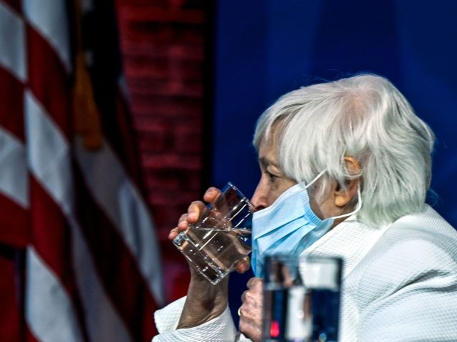 Treasury secretary nominee Janet Yellen takes a drink of water after US President-elect Joe Biden announced his economic team at The Queen Theater in Wilmington, Delaware, on December 1, 2020. (Photo by CHANDAN KHANNA / AFP) (Photo by CHANDAN KHANNA/AFP via Getty Images)