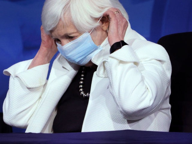 WILMINGTON, DELAWARE - DECEMBER 01: U.S. Secretary of the Treasury nominee Janet Yellen puts on a mask after speaking at an event to name President-elect Joe Biden's economic team at the Queen Theater on December 1, 2020 in Wilmington, Delaware. Biden is nominating and appointing key positions to the Treasury …