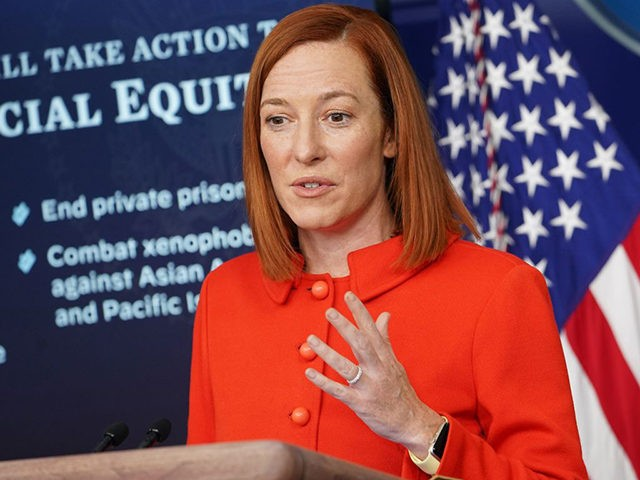 White House Press Secretary Jen Psaki speaks during the daily briefing in the Brady Briefing Room of the White House in Washington, DC on January 26, 2021. (Photo by MANDEL NGAN / AFP) (Photo by MANDEL NGAN/AFP via Getty Images)