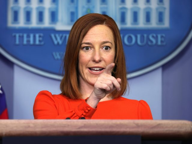 WASHINGTON, DC - JANUARY 21: White House Press Secretary Jen Psaki speaks during a press briefing at the James Brady Press Briefing Room of the White House January 21, 2021 in Washington, DC. Psaki held her second press briefing since President Joe Biden took office yesterday. (Photo by Alex Wong/Getty …
