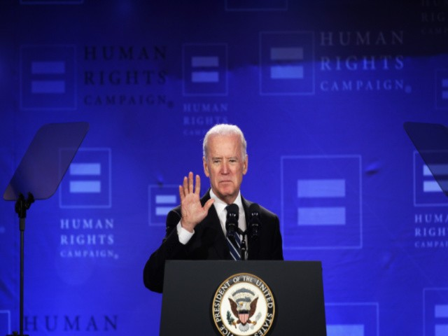 U.S. Vice President Joseph Biden addresses the Spring Equality Convention of Human Rights Campaign (HRC) March 6, 2015 in Washington, DC. Vice President Biden delivered remarks to the members of the nation's largest lesbian, gay, bisexual, and transgender (LGBT) civil rights organization at the convention. (Photo by Alex Wong/Getty Images)