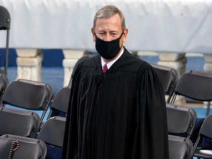 Chief Justice of the United States John Roberts arrives for the 59th Presidential Inauguration at the U.S. Capitol in Washington, Wednesday, Jan. 20, 2021. (AP Photo/Andrew Harnik)