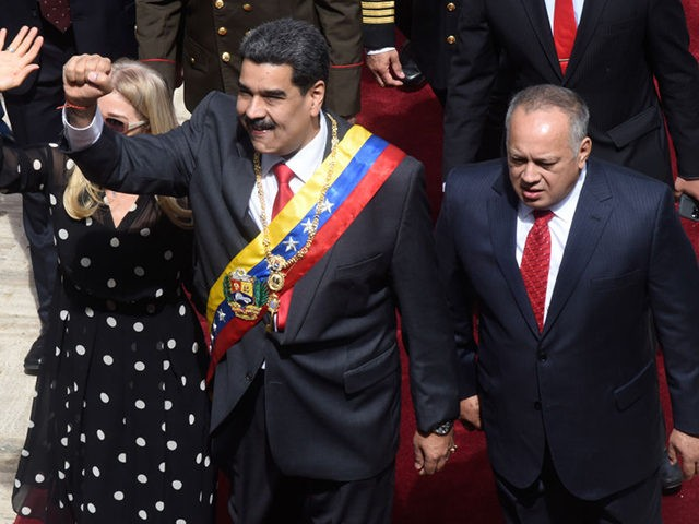 CARACAS, VENEZUELA - JANUARY 14: President of Venezuela Nicolas Maduro (C) gestures along with the First Lady Cilia Flores (L) and Constituent Assembly President Diosdado Cabello Rondon (R) as they arrive to the President's annual address to the nation at the National Constituent Assembly on January 14, 2020 in Caracas, …