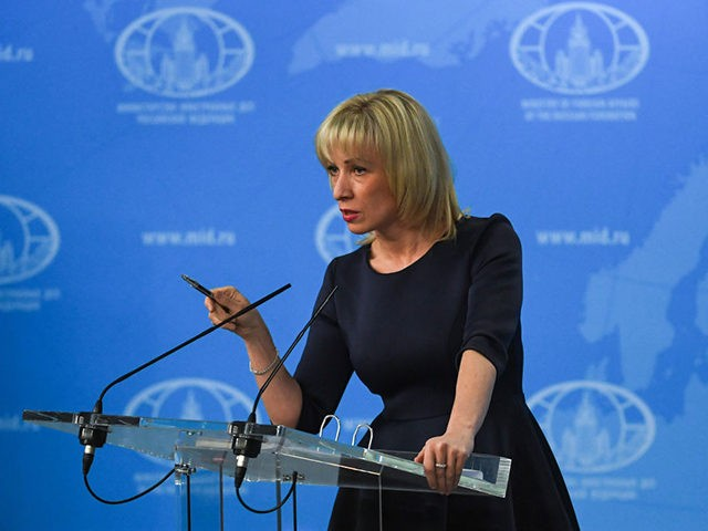 Russian Foreign Ministry spokeswoman Maria Zakharova speaks to the media in Moscow on March 29, 2018. / AFP PHOTO / Yuri KADOBNOV (Photo credit should read YURI KADOBNOV/AFP via Getty Images)
