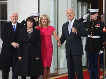 WASHINGTON, DC - JANUARY 20: Vice President Joseph Biden (R), and his wife Dr. Jill Biden (2ndR), greet vice president-elect Mike Pence and his wife Karen Pence, at the White House on January 20, 2017 in Washington, DC. Vice president-elect Pence will be sworn in during an inaugural ceremony at …