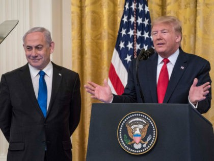 WASHINGTON, DC - JANUARY 28: U.S. President Donald Trump andIsraeli Prime Minister Benjamin Netanyahuparticipate in a joint statement in the East Room of the White House on January 28, 2020 in Washington, DC. The news conference was held to announce the Trump administration's plan to resolve the Israeli-Palestinian conflict. (Photo …