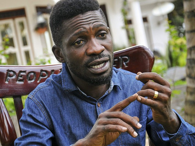 In this photo taken Friday, March 27, 2020, Ugandan musician, lawmaker and presidential aspirant Bobi Wine, whose real name is Kyagulanyi Ssentamu, speaks to The Associated Press in Kampala, Uganda. Wine, who released a song in March 2020 urging Africa's people to wash their hands to stop the spread of …