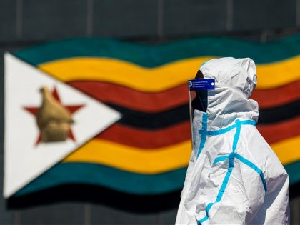 A pallbearer wears a personal protective suits as he looks on during the burial ceremony of late Zimbabwe's agriculture minister Perrance Shiri at the National Heroes Acre on July 31 2020, in Harare. - Perrance Shiri, 65, a retired general who commanded an army unit accused of a notorious massacre …