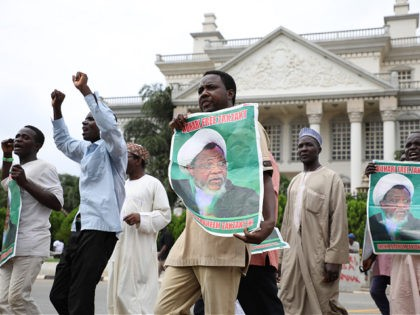 Hundreds of Shiites demonstrate in Abuja, on July 10, 2019, to demand the release of the leader of the Islamic Movement in Nigeria (IMN) Sheikh Ibrahim Zakzaky, a day after clashes with police left several protesters dead. (Photo by Kola SULAIMON / AFP) (Photo by KOLA SULAIMON/AFP via Getty Images)