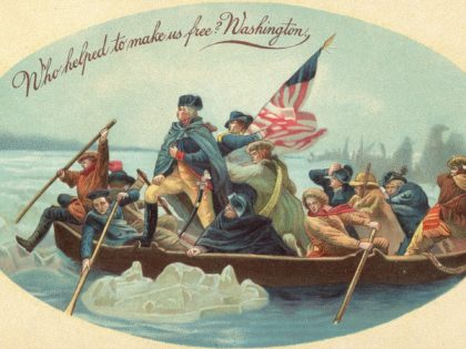 "Postcard shows the iconic image of American soldier and politician (and the country's first President) George Washington as he crosses the Delaware River in a boat with his troops, McKonkey's Ferry, Pennsylvania, December 26, 1776. The headline reads ""Who helped make us free? Washington.' The card's illustration is based on …"