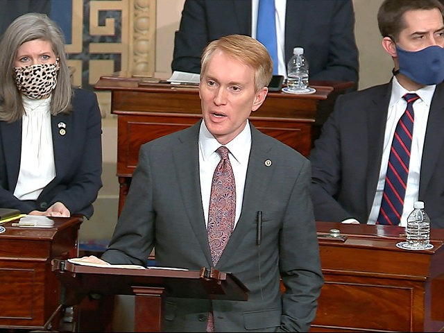 In this image from video, Sen. James Lankford, R-Okla., speaks as the Senate reconvenes after protesters stormed into the U.S. Capitol on Wednesday, Jan. 6, 2021. (Senate Television via AP)