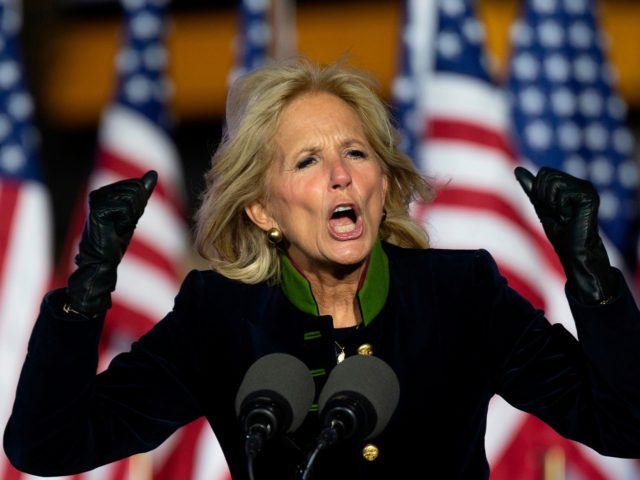 Jill Biden speaks prior to Democratic presidential candidate Joe Biden speaking during a Drive-In Rally at Heinz Field in Pittsburgh, Pennsylvania, on November 2, 2020. (Photo by JIM WATSON / AFP) (Photo by JIM WATSON/AFP via Getty Images)