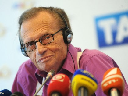 US anchorman Larry King listens to journalists' questions during a press conference in Bratislava, Slovakia, on September 22, 2011. AFP PHOTO / SAMUEL KUBANI (Photo credit should read SAMUEL KUBANI/AFP via Getty Images)