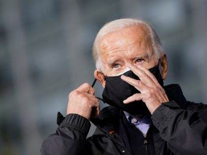PHILADELPHIA, PA - NOVEMBER 01: Democratic presidential nominee Joe Biden takes his mask off as he arrives to speak at a get out the vote event at Sharon Baptist Church on November 01, 2020 in Philadelphia, Pennsylvania. Biden is campaigning in Philadelphia on Sunday, in the key battleground state of …