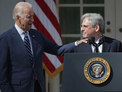 WASHINGTON, DC - MARCH 16: U.S. Vice President Joe Biden congratulates Judge Merrick Garland after he was nominated by U.S. President Barack Obama to the Supreme Court in the Rose Garden at the White House, March 16, 2016 in Washington, DC. Garland currently serves as the chief judge of the …