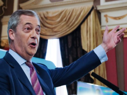 HARTLEPOOL, ENGLAND - NOVEMBER 11: Brexit Party leader Nigel Farage delivers his speech during the Brexit Party general election campaign tour at the Best Western Grand Hotel on November 11, 2019 in Hartlepool, England. Nigel Farage has announced that his party will not stand in 317 seats won by the …