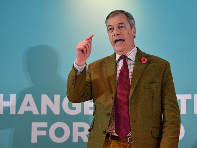 WORKINGTON, ENGLAND - NOVEMBER 06: Brexit party leader Nigel Farage attends an election campaign event at Washington Central Hotel on November 6, 2019 in Workington, England. The UK's main parties are gearing up for a December 12 general election after the motion was carried in a bid to break the …