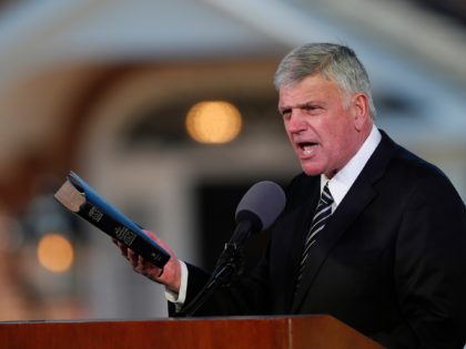 FILE - In this Friday, March 2, 2018 file photo, Pastor Franklin Graham speaks during a funeral service for his father, the Rev. Billy Graham who died the previous week at 99, at the Billy Graham Library in Charlotte, N.C. Many religious leaders have strongly condemned Trump's disparaging remarks about …