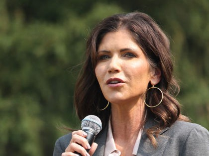 South Dakota Governor Kristi Noem speaks to guests at the 2020 Nebraska Steak Fry at Arbor Lodge State Historical Park in Nebraska City, Neb.