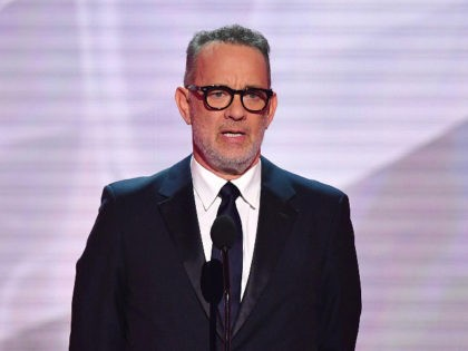 Actor Tom Hanks speaks onstage during the 25th Annual Screen Actors Guild Awards show at the Shrine Auditorium in Los Angeles on January 27, 2019. (Photo by Frederic J. BROWN / AFP) (Photo credit should read FREDERIC J. BROWN/AFP via Getty Images)