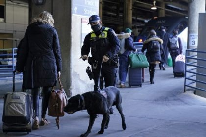 An Amtrak K9 officer and his dog check passengers before they board an Amtrak train before its departure from Union Station as security is heightened ahead of President-elect Joe Biden's inauguration ceremony, Tuesday, Jan. 19, 2021, in Washington. (AP Photo/David Goldman)