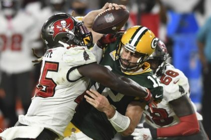 Tampa Bay Buccaneers inside linebacker Devin White (45) sacks Green Bay Packers quarterback Aaron Rodgers (12) during the second half of an NFL football game in Tampa, Fla., in this Sunday, Oct. 18, 2020, file photo. Rodgers had his worst game of the season in Green Bay's 38-10 loss at …