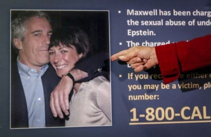 In this July 2, 2020, file photo, Audrey Strauss, acting U.S. attorney for the Southern District of New York, points to a photo of Jeffrey Epstein and Ghislaine Maxwell during a news conference in New York. Maxwell, a British socialite charged with recruiting girls for financier Epstein to sexually abuse …