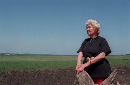 This May 13, 1998 photo shows Eleanor 'Sandy' Torrey West on Ossabaw Island near Savannah, Ga. West, who championed the preservation of one of Georgia's largest barrier islands has died at age 108. West's grandson, Beryl Gilothwest, confirmed she died Sunday, Jan. 17, 2021. (Kimberly Smith/Atlanta Journal-Constitution via AP)