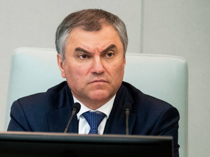 In this Wednesday, April 19, 2017 file photo, Russian State Duma speaker Vyacheslav Volodin, attends a session in the Lower House of the Russian Parliament, in Moscow, Russia. Russian lawmakers have on Friday, April 13, 2018 submitted a wide-ranging bill that could freeze crucial exports to the United States. Vyacheslav …