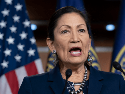 In this March 5, 2020, file photo Rep. Deb Haaland, D-N.M., Native American Caucus co-chair, speaks to reporters about the 2020 Census on Capitol Hill in Washington. President-elect Joe Biden plans to nominate Haaland as interior secretary. The historic pick would make her the first Native American to lead the …