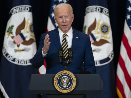 President Joe Biden delivers remarks to State Department staff, Thursday, Feb. 4, 2021, in Washington. (AP Photo/Evan Vucci)