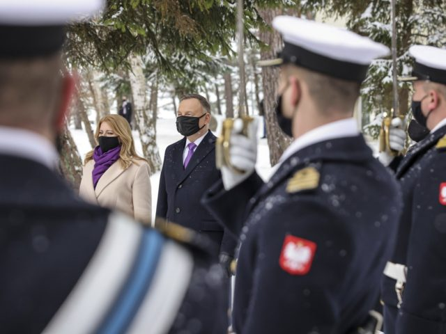 Poland's military stand at attention as President Andrzej Duda welcomes Slovakia's President Zuzana Caputova for a two-day summit with the presidents of Hungary and The Czech Republic marking 30 years of the Visegrad Group, an informal body of political and economic cooperation in the region, at the presidential residence in …